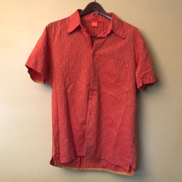 58d14663e09 Hugo Boss orange short sleeve button up